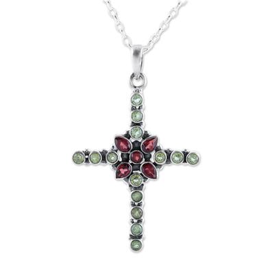 Garnet and peridot pendant necklace, 'Glistening Cross' - Peridot and Garnet Cross Pendant Necklace from India
