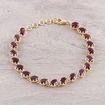 Gold Plated 20-Carat Garnet Tennis-Style Bracelet from India, 'Regal Garland'