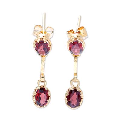 Gold plated garnet dangle earrings 'Dazzling Twins' - Gold Plated Garnet Dangle Earrings from India