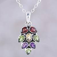 Multi-gemstone pendant necklace, 'Sparkling Pinecone' - 4-Carat Multi-Gemstone Pendant Necklace from India