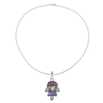 Multi-gemstone pendant necklace, 'Sparkling Pinecone' - 4-Carat Multi-Gemstone Pendant Necklace from India