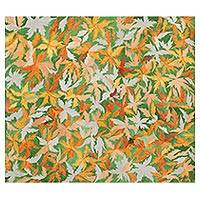 'Spring' - Signed Nature-Themed Painting of Leaves from India