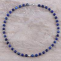 Lapis lazuli beaded necklace, 'Beaded Beauty in Blue' - Lapis Lazuli and Sterling Silver Beaded Necklace from India