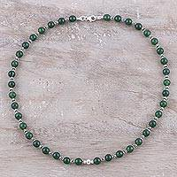Onyx beaded necklace, 'Beaded Beauty' - Green Onyx and Sterling Silver Beaded Necklace from India