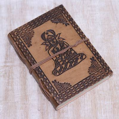 Leather journal, 'Buddha Reflections' - Handcrafted Seated Buddha Embossed Brown Leather Journal