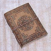 Leather journal, 'Celtic Connections' - Handcrafted Celtic Cross Embossed Brown Leather Journal