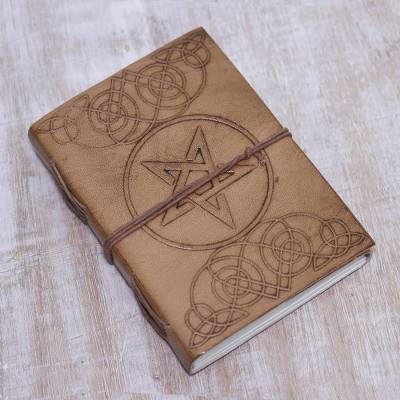 Leather journal, 'Mystical Star' - Handcrafted Encircled Star Embossed Beige Leather Journal