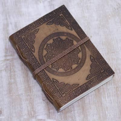Leather journal, 'Central Garden' - Handcrafted Encircled Flower Embossed Brown Leather Journal