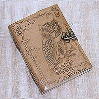 Leather journal, 'Nightfall in the Forest' - Handcrafted Owl in Tree Embossed Light Brown Leather Journal