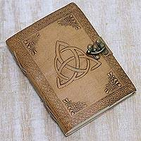 Leather journal, 'Celtic Trilogy' - Light Brown Embossed Celtic Trilogy Motif Leather Journal