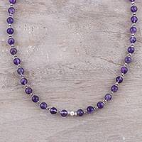 Amethyst beaded necklace, 'Beaded Beauty in Purple'