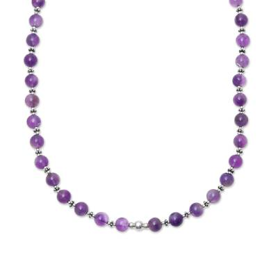 Amethyst beaded necklace, 'Beaded Beauty in Purple' - Amethyst and Sterling Silver Beaded Necklace from India
