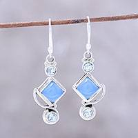 Blue topaz and chalcedony dangle earrings, 'Beauty of the Seas' - Blue Topaz and Chalcedony Dangle Earrings Handmade in India