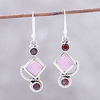 Garnet and chalcedony dangle earrings, 'Beauty of the Horizon' - Garnet and Pink Chalcedony Dangle Earrings Handmade in India