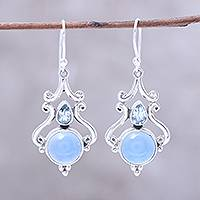 Chalcedony and blue topaz dangle earrings,