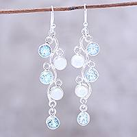 Blue topaz and rainbow moonstone dangle earrings,