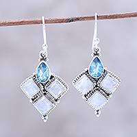 Rainbow moonstone and blue topaz dangle earrings, 'Morning Delight' - Rainbow Moonstone and Faceted Blue Topaz Earrings from India