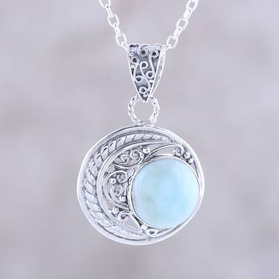 Crescent motif larimar pendant necklace from india crescent larimar pendant necklace crescent elegance crescent motif larimar pendant necklace from india aloadofball Image collections