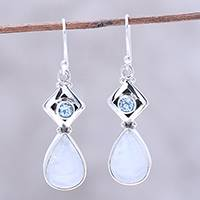 Rainbow moonstone and blue topaz dangle earrings, 'Misty Blush' - Teardrop Rainbow Moonstone and Blue Topaz Earrings