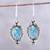 Citrine dangle earrings, 'Ocean in Sunlight' - Citrine and Composite Turquoise Earrings from India thumbail