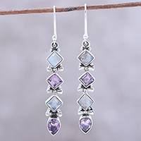 Amethyst and rainbow moonstone dangle earrings, 'Gemstone Fusion' - Amethyst and Rainbow Moonstone Dangle Earrings from India