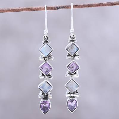 Amethyst and Rainbow Moonstone Dangle Earrings from India, 'Gemstone Fusion'