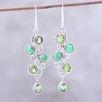 Peridot dangle earrings, 'Green Sheen' - Peridot and Composite Turquoise Dangle Earrings from India