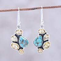Citrine dangle earrings, 'Golden Fusion' - Citrine and Composite Turquoise Dangle Earrings from India