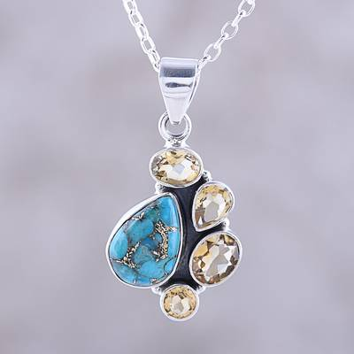 Citrine and Composite Turquoise Pendant Necklace from India, 'Golden Fusion'