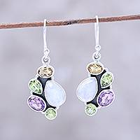 Multi-gemstone dangle earrings, 'Glittering Fusion' - Multi-Gemstone 4.5-Carat Dangle Earrings from India