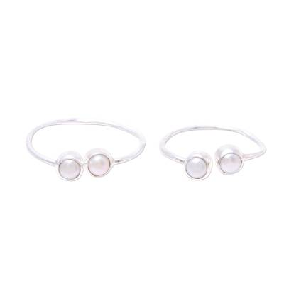 Cultured pearl toe rings, 'Twin Elegance' - Cultured Pearl Toe Rings Crafted in India