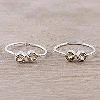 Citrine toe rings, 'Twin Elegance'
