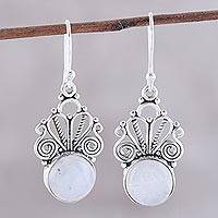 Rainbow moonstone dangle earrings, 'Morning Princess' - Natural Rainbow Moonstone Dangle Earrings from India