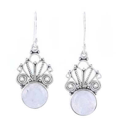 Rainbow moonstone dangle earrings, 'Morning Princess' - Natural Rainbow Moonstone Dangle Earrings from India