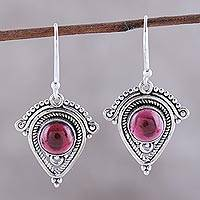Garnet dangle earrings, 'Regal Classic' - Artisan Crafted Garnet Dangle Earrings from India