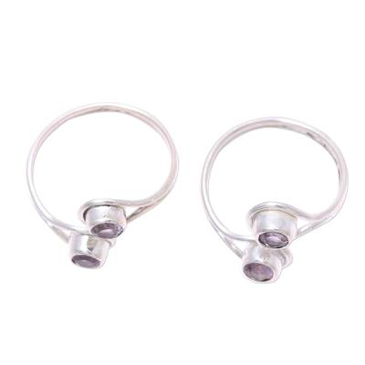 Amethyst toe rings, 'Lovely Trend' (pair) - Faceted Amethyst Toe Rings Crafted in India (Pair)