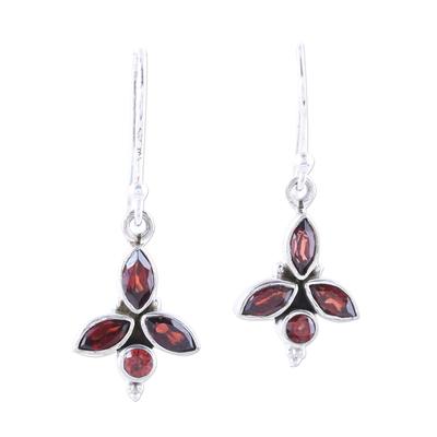 Garnet dangle earrings, 'Garnet Dazzle' - Faceted Marquise Garnet Dangle Earrings from India