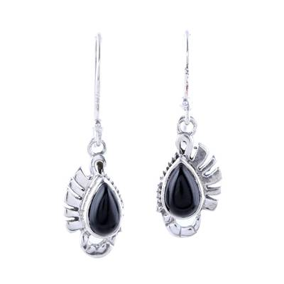Teardrop Onyx Dangle Earrings Crafted in India