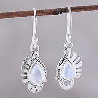 Rainbow moonstone dangle earrings, 'Feather Bliss' - Teardrop Rainbow Moonstone Dangle Earrings Crafted in India