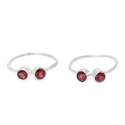 Sparkling Garnet Toe Rings Crafted in India (Pair)