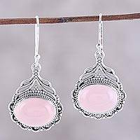 Chalcedony dangle earrings, 'Jeweled Glory' - Oval Pink Chalcedony Dangle Earrings from India