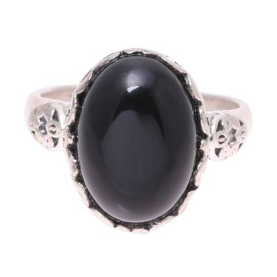 Onyx cocktail ring, 'Glamorous Beauty in Black' - Oval Onyx Cocktail Ring in Black from India