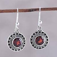Garnet dangle earrings, 'Circular Sparkle' - Circular Garnet Dangle Earrings from India