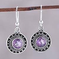 Amethyst dangle earrings, 'Circular Sparkle' - Circular Amethyst Dangle Earrings from India