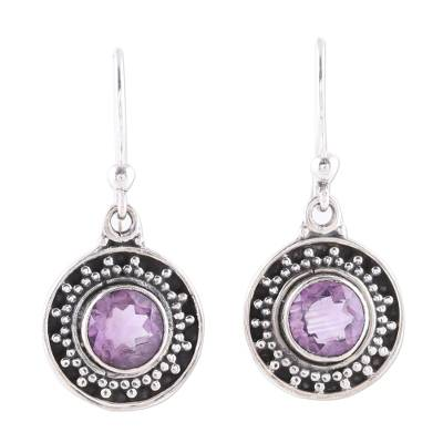 Amethyst dangle earrings, 'Circular Sparkle' - Circular Amethyst Dangle Earrings from India