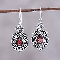 Garnet dangle earrings, 'Classic Style' - Pear Garnet Dangle Earrings from India