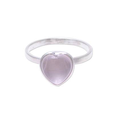Heart-Shaped Rose Quartz Cocktail Ring from India