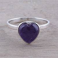 Amethyst cocktail ring, 'Gemstone Heart' - Heart-Shaped Amethyst Cocktail Ring from India