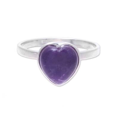Heart-Shaped Amethyst Cocktail Ring from India