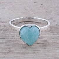 Amazonite cocktail ring, 'Gemstone Heart' - Heart-Shaped Amazonite Cocktail Ring from India